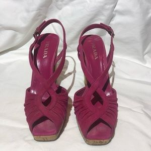 Prada suede and cork platform sandals